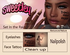 Sweetley - Set In the Rain (Exclusive for XXX Originl Event) (Sweetley SL) Tags: sweetley xxxoriginalevent secondlife sl rain exclusive facetattoo eyelashes tattoo nailpolish manicure pedicure newrelease original copyrighted fashion beauty stylish trendy