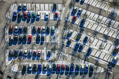 Vacant Parking Spaces (Aerial Photography) Tags: by la ndb 04012010 1ds37613 auto autos bavaria bayern blau deutschland fahrzeug farbe fotoklausleidorfwwwleidorfde fotoklausleidorfwwwleidorfaerialcom germany grafik grau grün landshut luftaufnahme luftbild mitarbeiterparkplatz p1 pkw parken parkplatz personenwagen region reihen rot schatten verkehr weis aerial automobile blue bunt car cars color colorful colour colourful graphicart graphics green grey outdoor red redcars roteautos rows shade shades shadow shadows traffic vehicle verde white bayernbavaria deutschlandgermany deu