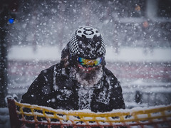 Biker in a blizzard...on skis (samleer) Tags: austria blizzard europe man oneperson salzburgerland snow winter biker schladming eightball helmet beard