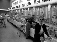 1957 Meat Section (Brett Streutker) Tags: add tags supermarket food store wall mart krogers ap woolworth foomark 1970 1980 1977 1963 1950 1967 kids mom mum shopping with dad nostalgia old days out business closed time muzak shop till you drop dollar tesco iga lion neighborhood school grandma grandpa cart 1970s 1960s 1950s vintage long lost summer job clerk cashier department coffee dairy cheakout lane monochrome