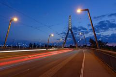 Bridge and Lights in blue hour (MR-Fotografie) Tags: bridge light lights blue hour brücke hallesaale halle sachsenanhalt nikon d7100 blaue stunde mrfotografie lines street sky