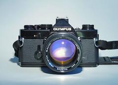 OLYMPUS OM-1, black (でんたく) Tags: olympus om1 black camera vintage 70s zuiko 55mm f12 12 analog slr om film 135 product photography