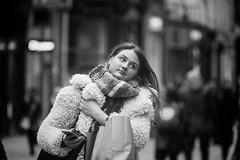 Weighed down ........ (Frank Fullard) Tags: frankfullard fullard candid portrait shopping shopper weigheddown dublin irish ireland beauty scarf hair bag monochrome black white blanc noir graftonstreet