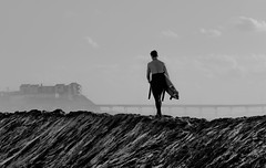 From sand to surf (Keoni Cabral) Tags: beach beachocean bw bwsurfer monochrome outdoor sand surfing