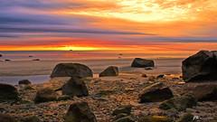 The Awakening (James Korringa) Tags: sunrise beach rocks rocky scenic landscape oceanscape seascape morning orange sky whitehorsebeach massachusetts