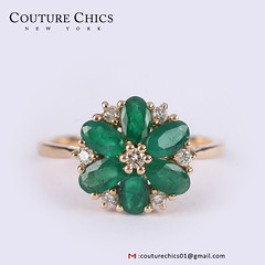 Natural 1.52 Ct Emerald Diamond Flower Shaped Ring Solid 14k Yellow Gold Gemstone Fine Jewelry (couturechics.facebook1) Tags: natural 152 ct emerald diamond flower shaped ring solid 14k yellow gold gemstone fine jewelry