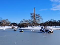 frozen pond (ekelly80) Tags: dc washingtondc january2019 winter snurlough snow snowstorm shutdown trumpshutdown snowday snowywalk white snowy nationalmall constitutiongardens pond frozen snowcovered washingtonmonument ice