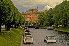 A0156SPBb (preacher43) Tags: st petersburg russia building architecture history griboyedov canal moyka river catherine empress great trees water boats people clouds