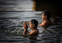 "Morning Ablutions In The Ganges (El-Branden Brazil) Tags: varanasi india indian ganges ganga ceremony hindu hinduism asian asia sacred holy mystical ""south asia"" sadhu"