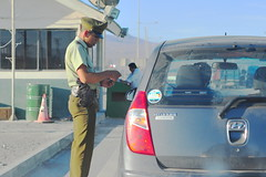 Police Checkpoint (Chris Hunkeler) Tags: chile officer security army military uniform tight young soldier guard post hut