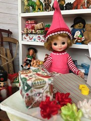 5. Wrapping for Santa (Foxy Belle) Tags: doll christmas 16 scale santas workshop toy north pole toys miniature dollhouse barbie diorama holiday scene room wrapping gifts tiny vintage betsy mccall handmade felt elf costume