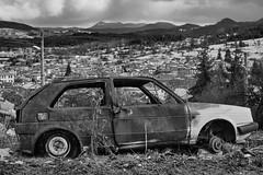 Golf (a.balinoff) Tags: volksvagen golf car old rusty decaying mountain mountains hill rhodope rhodopes bulgarian bulgaria blackandwhite bw la landscape balkan balkans easterneurope