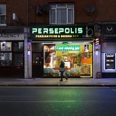 Persepolis, High Road, Willesden (London Less Travelled) Tags: uk unitedkingdom britain england london brent willesden green willesdengreen walmlane shop persian iranian food road street light neon reflection