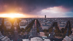 Sunset & Rain from the Rooftop of the Arc de Triomphe ( Paris / France ) (Yannick Lefevre) Tags: europe france paris paysage panorama poselongue rooftop arcdetriomphe ladéfense avenuedelagrandearmée tourmaillot cityscape city town fisheye nikon nikkor lightroomcc photoshopcc raw nef landscape sunset rain clouds sky urban street aerialview sun golden flickr light colors