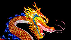 Impressionnant !  (Impressive ! ) (Larch) Tags: dragon lanterne féériesdechine nuit night couleur color dents teeth gueule gaillac tarn france menaçant flamme occitanie flame threatening mouth china chine