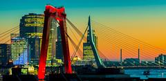 DSC08366-3 (renshan86) Tags: nederland sky cityscape skyline southholland city color river maas willemsbrug erasmus bridge rotterdam zonsondergang sunset netherlands