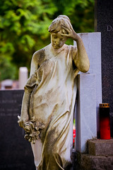 statue of a mourning woman (Sam Scholes) Tags: stone mirogojcemetery graves zagreb travel landmark statue woman graveyard vacation europe cemetery croatia cityofzagreb hr
