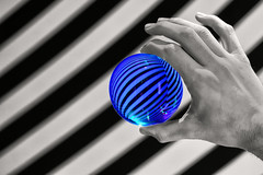 Too Much Time on My Hands (WilliamND4) Tags: sliderssunday hss orb hand stripes selectivecolor