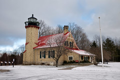 mcgulpin point light (twurdemann) Tags: architecture closed emmetcounty fujixt1 greatlakes lakehuron lighthouse lowerpeninsula mackinaw michigan normangothic northernmichigan snow statepark straitsofmackinac unitedstates winter xf55mm