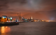 The Scheldt is blending in perfectly in Antwerp. (Jochem.Herremans) Tags: antwerp belgium scheldt river water cathedral diamonds night lights