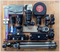 my gear for the next trip :-) (Dierk Topp) Tags: 6x17 fotoman6x17 laowa1018mmf4556fezoom laowa15mmf4wideangled11macro lunasix realitysosubtle6×17 sony1635mmvariotessartfef4zaoss sonya6000 sonya7rir sonya7rii sonyfe24105mmf4goss winecountrycamera analog gear horizon202 ilford kodak pano panorama pinhole portra sony