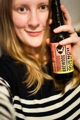 Day 309, Year 11. (evilibby) Tags: 365 36511 365days 365days11 libby portrait beer bottleofbeer brewdog stripes striped stripey