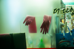 (Džesika Devic) Tags: gloves winter frostedwindow korea korean conveniencestore neon green pink