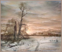Winter landscape. (Borovsk). iPhoneart. (odinvadim) Tags: iphoneart landscape iphoneonly winter iphonex iphoneography mytravelgram distressedfx sunset painterlymobileart iphone snapseed evening artist travel frost oldhouse textured textures editmaster icolorama