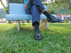 In the park (polmas2010) Tags: oxford captoes socks black shoes