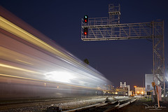 Commute Rush (Patrick Dirden) Tags: blur motionblur twilight nightphotography rail railroad train passengertrain caltrain jpbx collegeparkstation sanjose sanjoseca santaclaracounty southbay bayarea northerncalifornia california