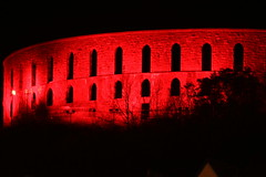 Lit Red for Remembrance. (1 of 5) (Steviethewaspwhisperer) Tags: poppyscotland red remembrance mccaig mccaigs mccaigstower mccaigsfolly