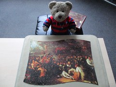 One fer yew, Uncle Lars! (pefkosmad) Tags: jigsaw puzzle hobby leisure pastime waddingtons scroll qualitex vintage deathofnelson benjaminwest art painting fineart used complete secondhand tedricstudmuffin teddy ted bear animal toy cute cuddly plush fluffy stuffed soft