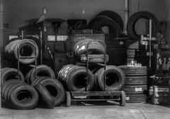 Stored (arbyreed) Tags: arbyreed monochrome blackandwhite bw tires storage shed eagleslanding scipio millardcountyutah