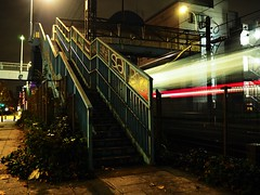 Tokyo (Meg Kamiya) Tags: tokyo japan night light colour city train olympus omd em10 lighttrail footbridge