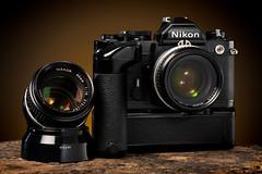 Nikon FM with MD-12 (martin wilmsen) Tags: nikon 35mm 35mmfilmcamera vintagenikon d850 strobist elinchrom elc1000 105mm studio skyport strobelight tabletop productshot productphotography cameracollection 50mmaislens
