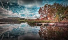 3 boats (paullangton) Tags: wales llangorse lake brecon boats ducks clouds sky blue nature landscape water green leefilters exposure reflection trees jetty