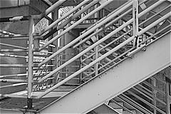 Fire Stairs, Deserted Naval Shipyard Hospital (sswj) Tags: architecturaldetail historicbuilding mareisland navalshipyardhospital stairs firestairs blackandwhitebw scottjohnson dslr fullframe naturallight availablelight existinglight vallejo northerncalifornia nikon d600 nikkor28300mm abstractreality geometric diagonals steel
