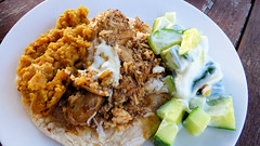 Roti and curry (Sandy Austin) Tags: panasoniclumixdmcfz70 sandyaustin westauckland auckland massey northisland newzealand food chickencurry spicypumpkinmash raita