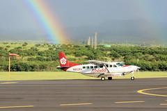 Mokulele Rainbow (gooey_lewy) Tags: aircraft hawaii hawaiian islands aviation plane transport mokulele cessna grand caravan n852ma maui kapalua airport island hopping single engine propeller blur rain tropical