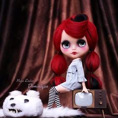 Dominique ❤️ (pure_embers) Tags: pure embers blythe doll dolls custom photography takara neo uk laura england girl pureembers dominique nanuka vampire red alpaca hair tv bubble