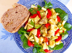 Crunchy healthy lunch (zinnia2012) Tags: salad healthy food delicious favourite crunchy apples cheese avocado bellpepper groundseeds chia flaxseed pumpkinseeds sesameseeds rapeseedoil colza canola tasty