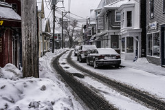 Commercial St, Snow (PAJ880) Tags: provincetown ma snow winter commercial st shops tracks houses cape cod offseason