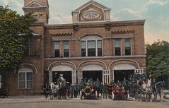 """SW Grand Rapids MI c.1908 FIREMEN AND FIRE DEPARTMENT EQUIPMENT AT FIREHOUSE No. 3 523 Front NW MOTORIZED and Horse Drawn Fire Engines and Hose Wagons built in 18872 (UpNorth Memories - Donald (Don) Harrison) Tags: vintage antique postcard rppc """"don harrison"""" """"upnorth memories"""" upnorth memories upnorthmemories michigan history heritage travel tourism restaurants cafes motels hotels """"tourist stops"""" """"travel trailer parks"""" cottages cabins """"roadside"""" """"natural wonders"""" attractions usa puremichigan """" """"car ferry"""" railroad ferry excursion boats ships bridge logging lumber michpics uscg uslss"""