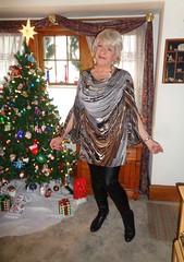 The Last Xmas Present? (Laurette Victoria) Tags: xmas tree boots pleather leggings dress blonde necklace woman laurette