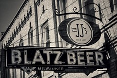 Old Blatz Beer Sign (Ken Mattison) Tags: oldsigns signs vintage old blatzbeer bw bnw blackandwhite monochrome outdoor street panasonic fz1000 cedarburgwisconsin wisconsin usa composition