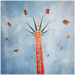 Up in the Air (tina777) Tags: funfair fairground ride british seaside exhilararting excitement fun scary height swing spin sky coney beach porthcawl south wales