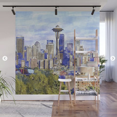 Seattle View in watercolor Wall Mural (marianv2014) Tags: seattle usa american america washington downtownseattle spaceneedle travel attractions watercolour aquarelle walldecor roomdecor seattleposter spaceneedleposter skylineposter affordablegifts artgifts art skyscrapers tallbuildings watercolor skyline cities wallart fineart urbanlandscape green purple blue squareformat illustration artwork outdoors beautiful tourism scenery city view contemporary decor landmark charming wall murals