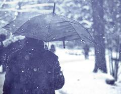 l'équilibre poétique (photosgabrielle) Tags: photosgabrielle monochrome parapluie umbrella hiver snow winter neige people personnage out