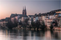 Basel (Tjaldur66) Tags: city oldtown historictown basel switzerland sunrise morning morninglight dawn river rhein hdr tonemapping mystic church cathedral sacralbuilding