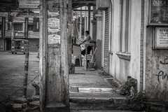 Security (Beegee49) Tags: street blackandwhite monochrome security guard man bw watching guarding happyplanet bacolod city philippines asia sony a6000 asiafavorites